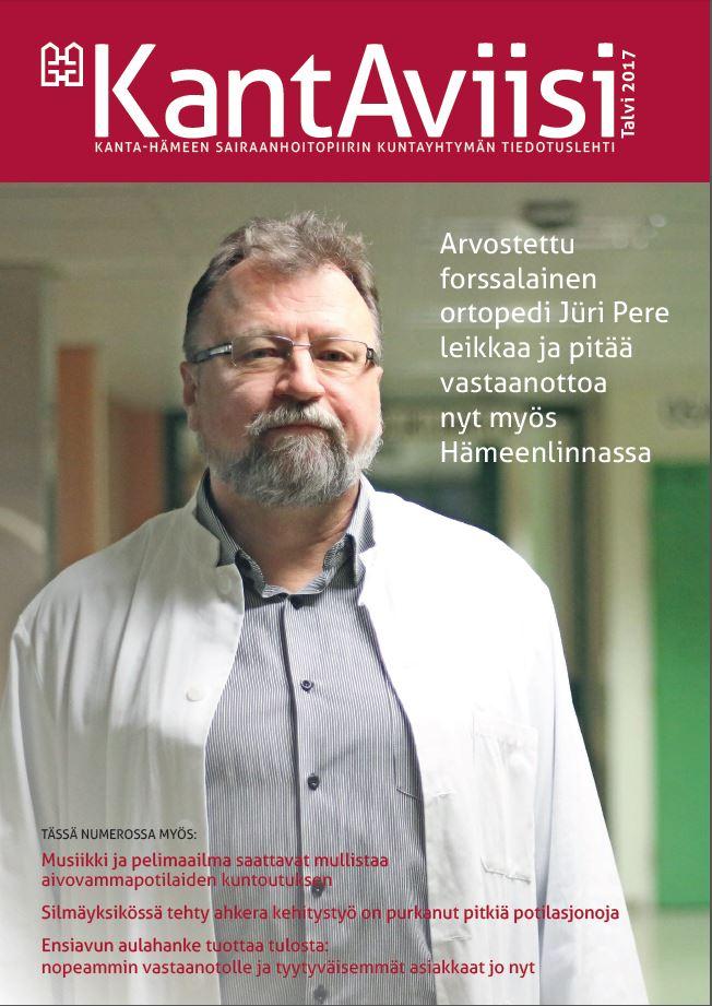 KantAviisi-lehden vuoden 2017 talvilehden kannessa forssalainen ortopedi Jüri Pere.