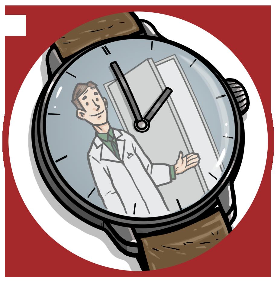 Kuva eOdotus-jonomittarin kellosta, jonka keskellä on lääkäri.