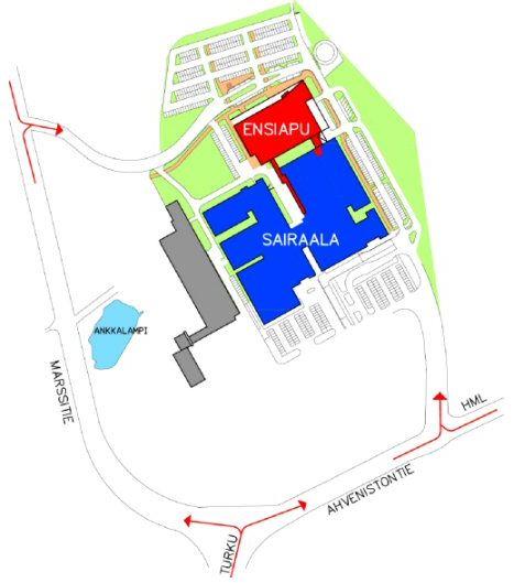 Kanta-Hämeen keskussairaalan ensiavun sijainti ja kulkuohjeet sairaala-alueella.
