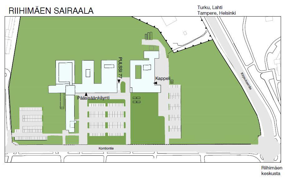 Riihimäen sairaalan kulkuopas ja sijainti kuvassa. Riihimäen sairaalan pääsisäänkäynti sijoittuu Kontiontielle ja päivystyksen sisäänkäynti sijaitsee sairaalan takana.