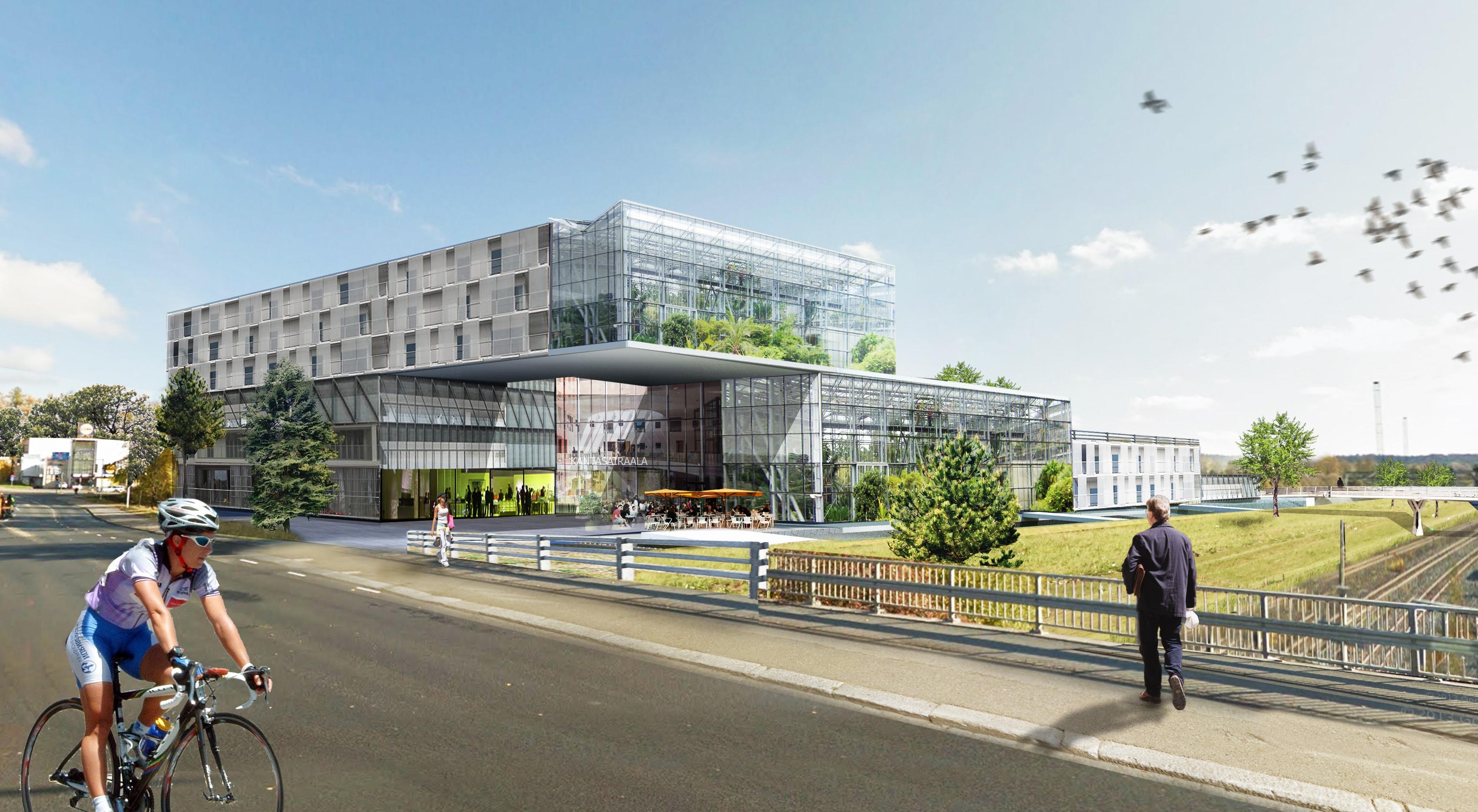 Uuden sairaalan luonnoksessa sairaala on sijoitettu junaraiteiden läheisyyteen. Havainnekuvassa toinen mies pyöräilee ja toinen kävelee sairaalan edustalla.
