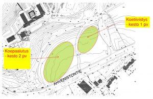 Karttakuva, johon on merkitty vihreällä koepaalutuksen ja koetiivistyksen sijainnit Ahvenistontiellä.