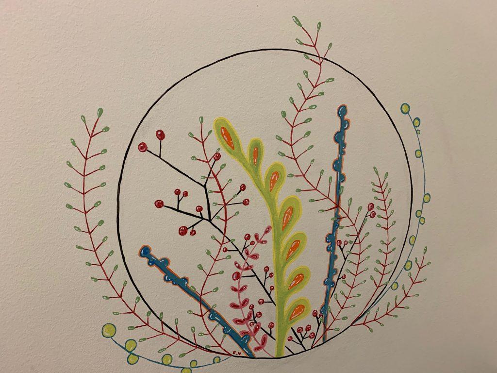 Kuvassa luontoaiheisessa maalaus, jossa on kuvattuna erilaisia kasveja.