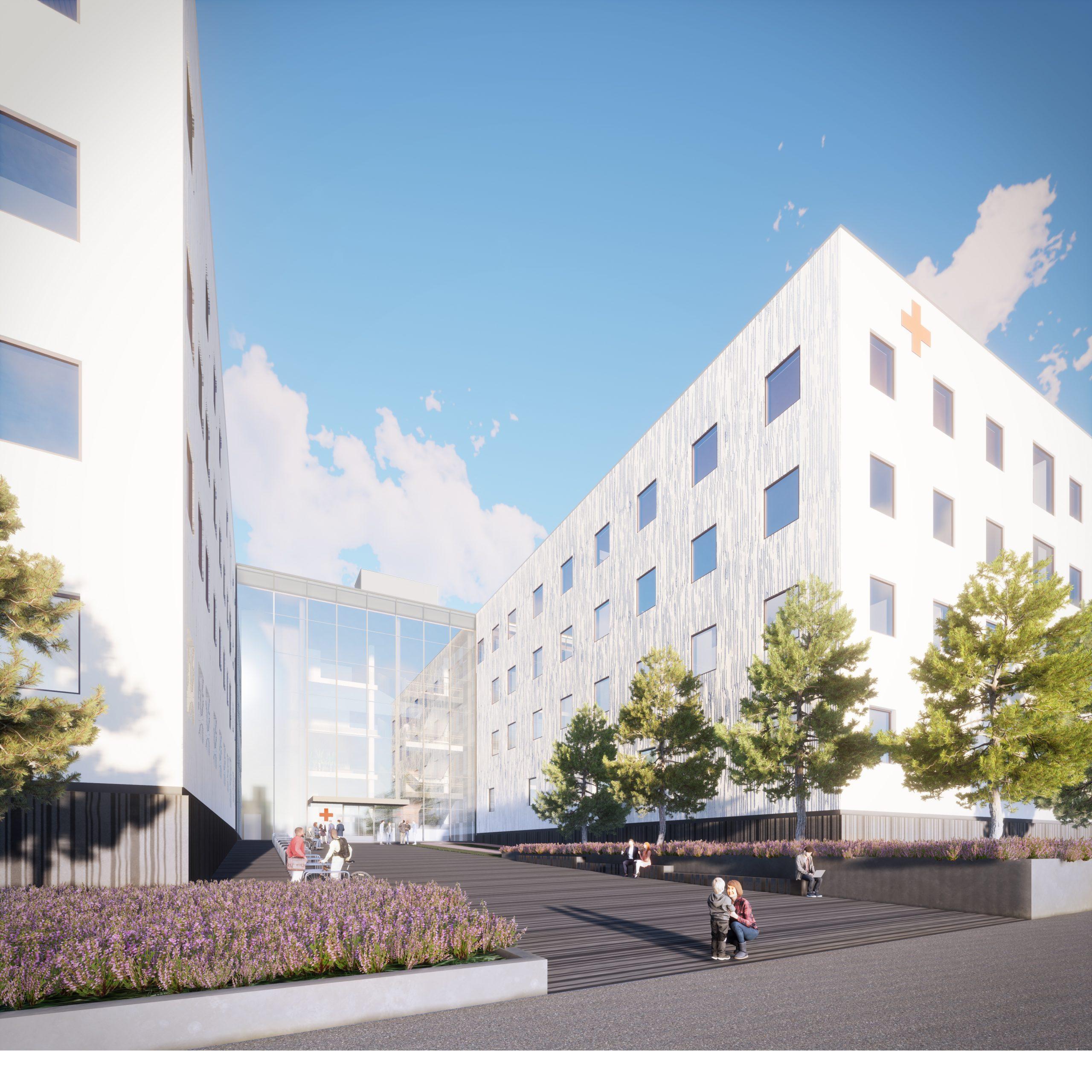 Havainnekuva uuden tulevaisuuden Ahveniston sairaalan sisäänkäynnistä