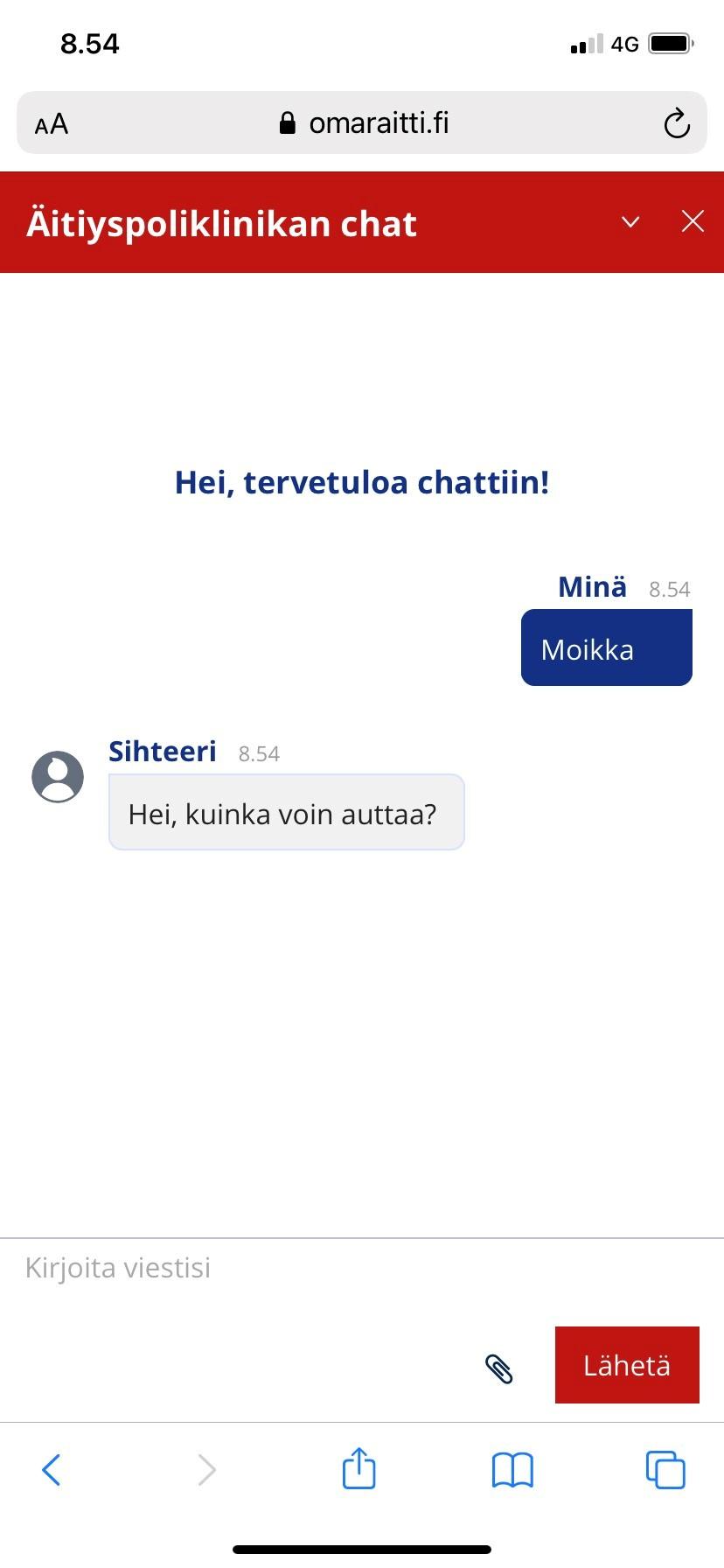 OmaRaitti-sovelluksen chat osion keskustelunäkymä
